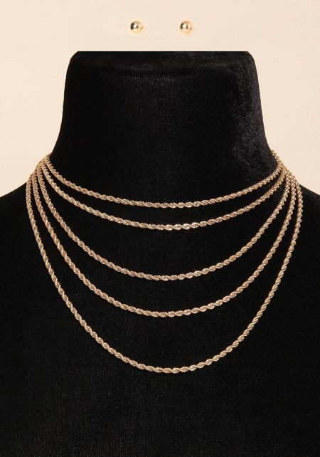 Gold Twisted Chain Layered Necklace