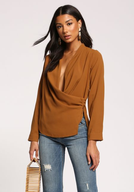 Bronze Plunge Side Button Layered Blouse