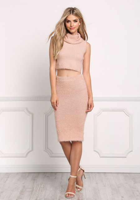 Blush Fuzzy Knit High Rise Skirt