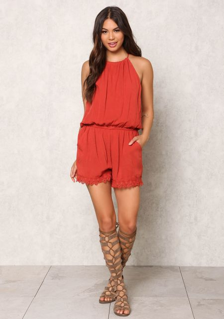 Brick Crepe Crochet Trim Cut Out Romper
