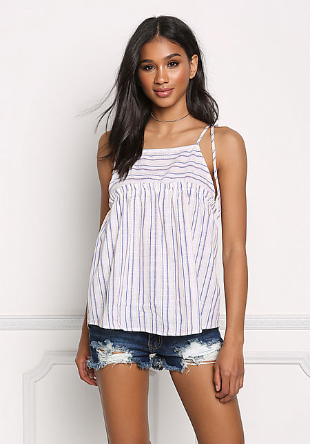 Blue Stripe Tie Strap Tank Top
