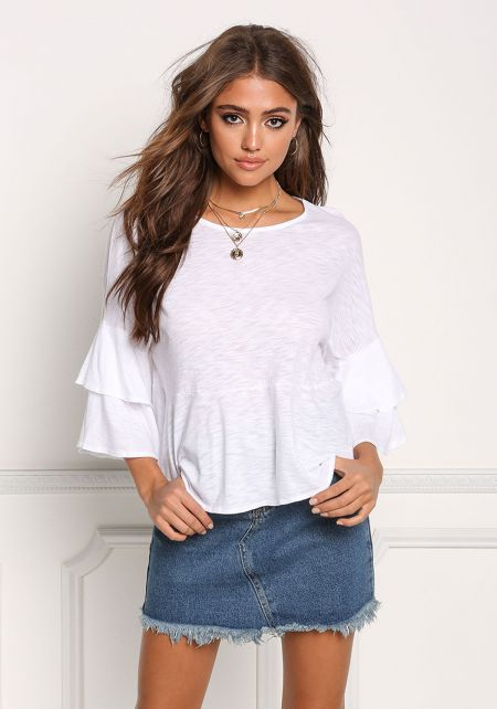 White Layered Bell Sleeve Flared Top