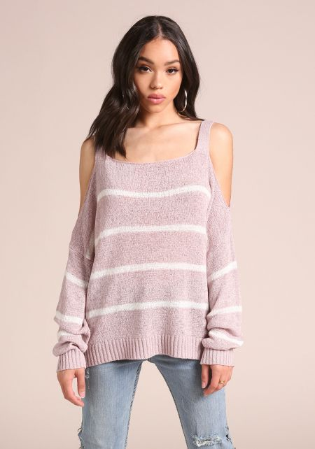 Mauve Stripe Cold Shoulder Sweater Top