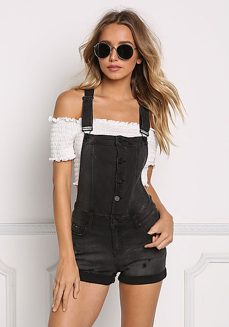 Black Distressed & Cuffed Denim Shorts Overalls