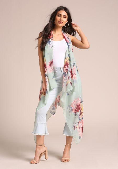 Mint Floral Longlined Vest