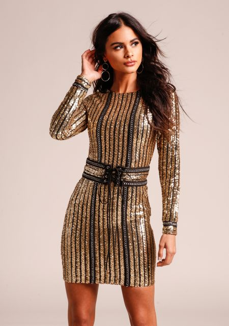 Gold Sequin & Chain Bodycon Dress with Corset Belt