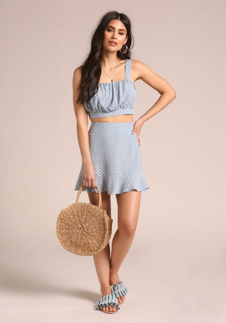 Blue Polka Dot Ruffle Mini Skirt
