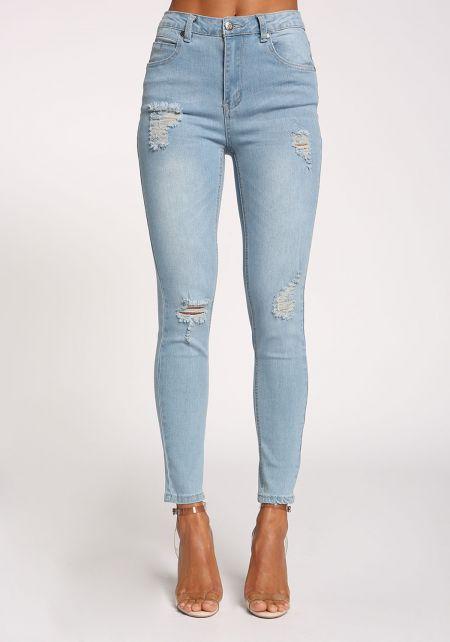 Light Denim Distressed Skinny Jeans