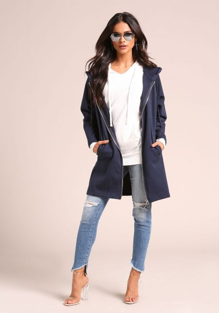 Navy Hooded Zip Up Tunic Sweater