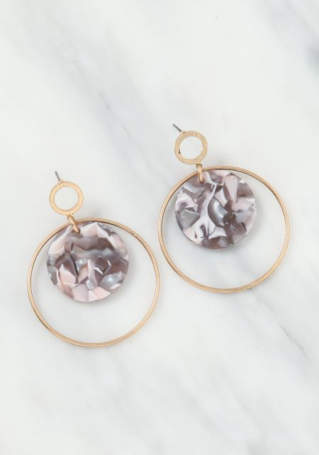Grey Resin Hoop Drop Earrings