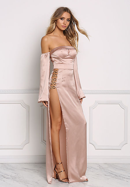 Champagne Silky High Slit Off Shoulder Maxi Gown