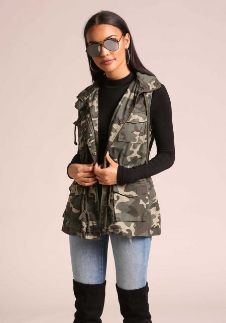Camouflage Hooded Anorak Drawstring Vest
