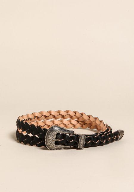 Black Braided Leatherette Belt