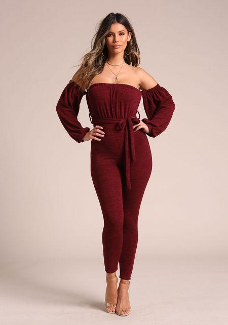 Burgundy Marled Off Shoulder Puff Sleeve Jumpsuit