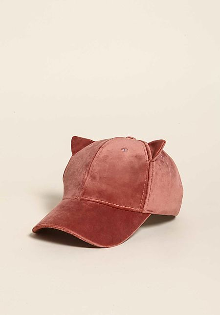 Dusty Pink Velvet Cat Ears Baseball Cap