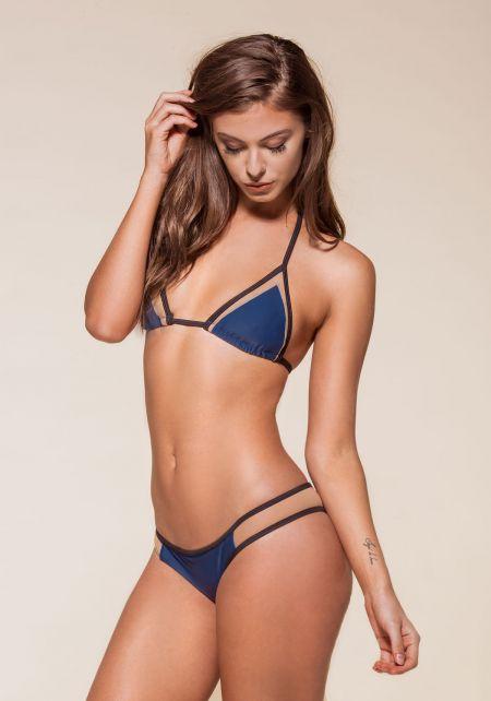 Navy Blue Mesh Triangle Bikini Set