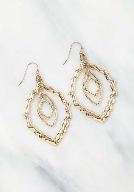 Gold Textured Teardrop Earrings