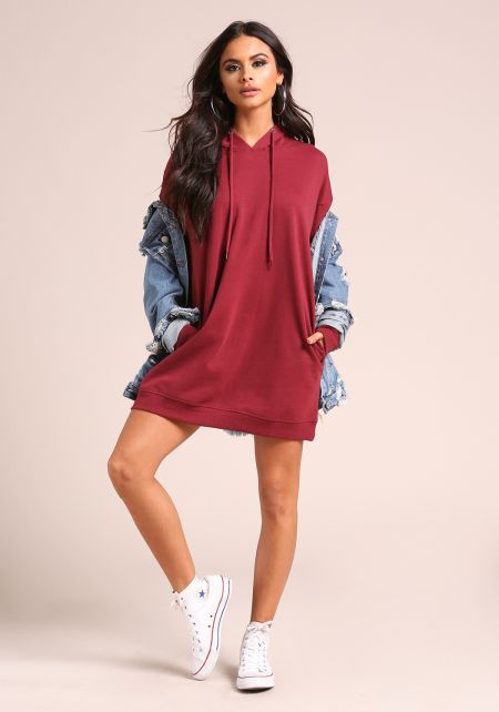 Burgundy Hooded Tunic Sweater Top