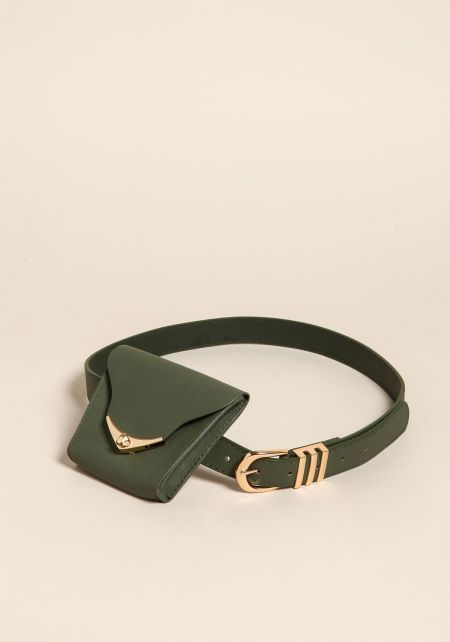 Olive Leatherette Fanny Belt