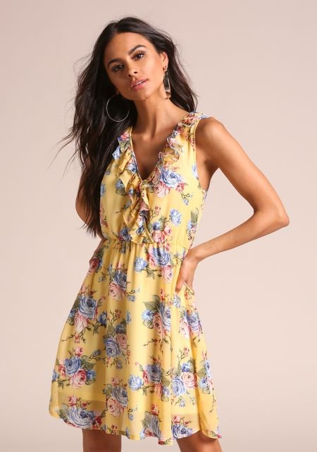 Yellow Floral Chiffon Ruffle Flared Dress