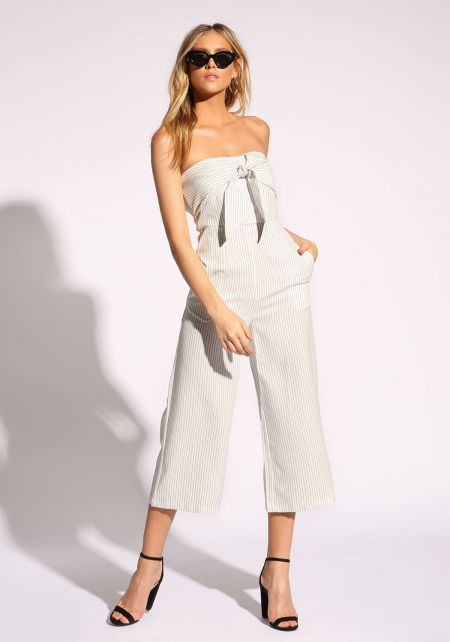 White Pinstripe Tie Front Cropped Palazzo Jumpsuit
