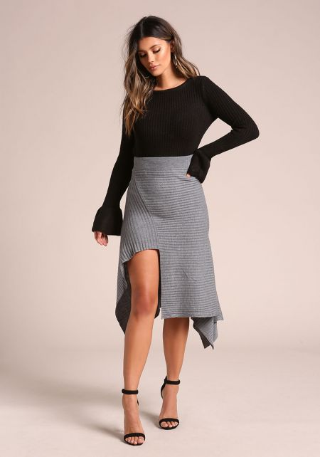 Grey Ribbed Knit Asymmetrical Pointed Skirt