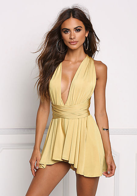 Mustard Slinky Sheen Magic Tie Romper