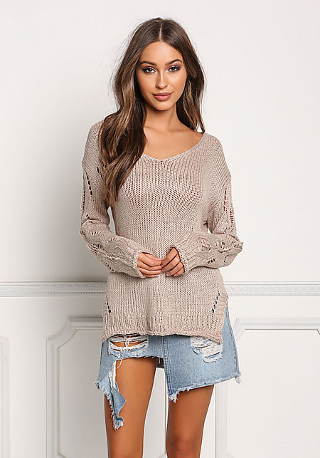 Khaki Back Frayed Knit Sweater Top