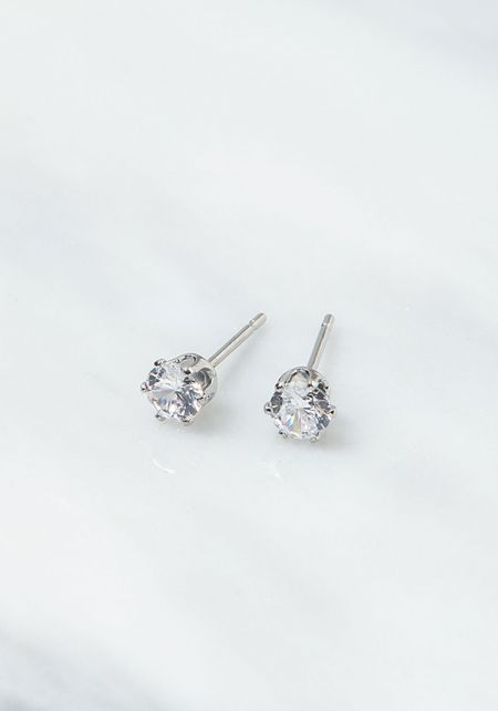 Silver Small Diamond Earrings