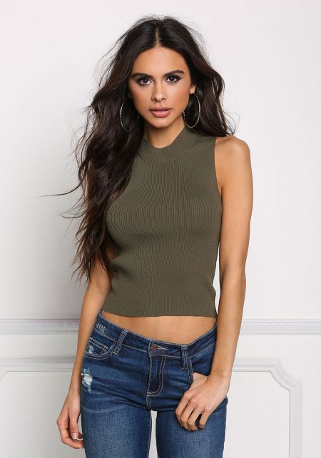Olive Basic Ribbed Knit Crop Top