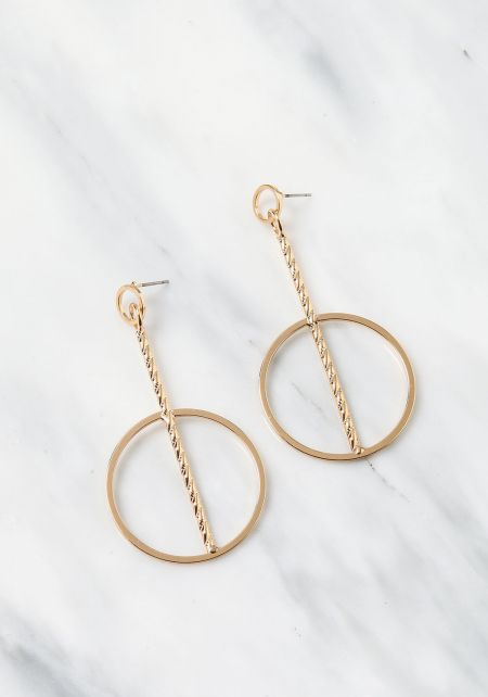 Gold Textured Bar Hoop Earrings