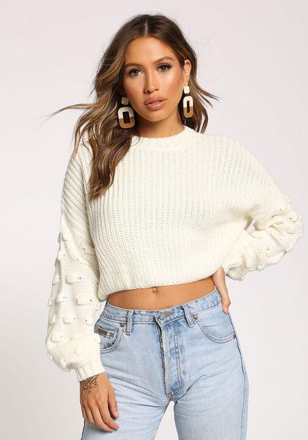 Cream Polka Dot Sleeve Cropped Sweater Top