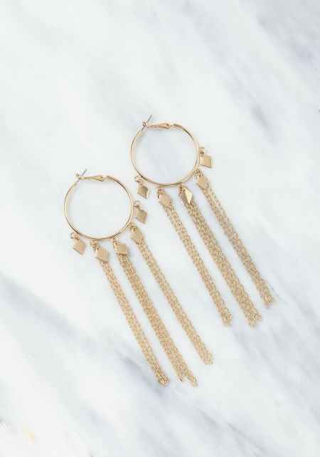Gold Chain Tassel Hoop Earrings