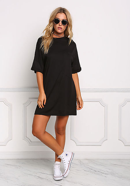 Black Over Sized Pocket T-Shirt Dress