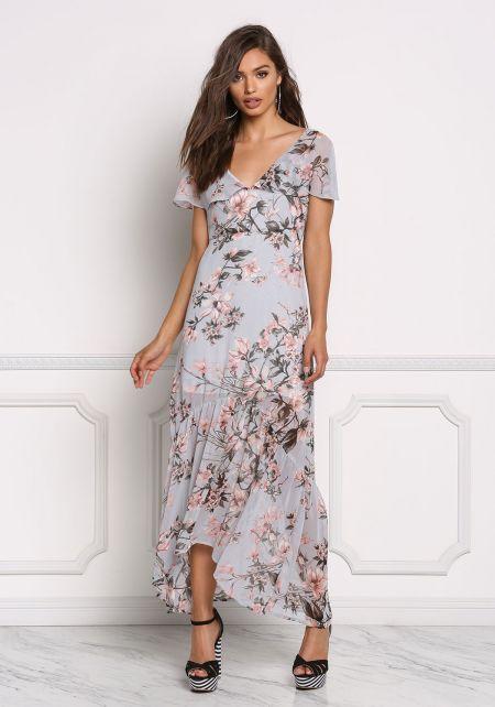 Dusty Blue Chiffon Floral Cross Strap Maxi Dress