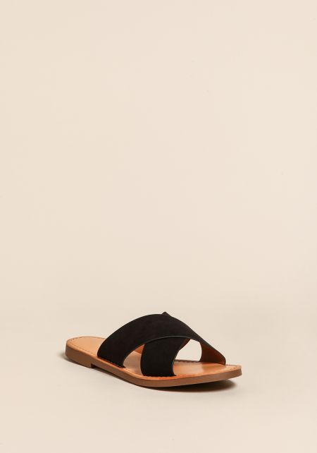 Black Cross Over Slip On Sandals