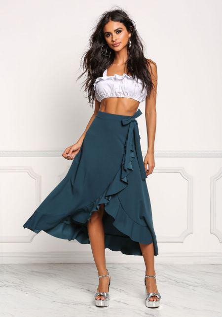 Teal Faux Wrap Ruffle Midi Skirt