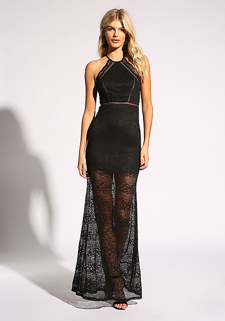 Black Lace Open Back Maxi Gown