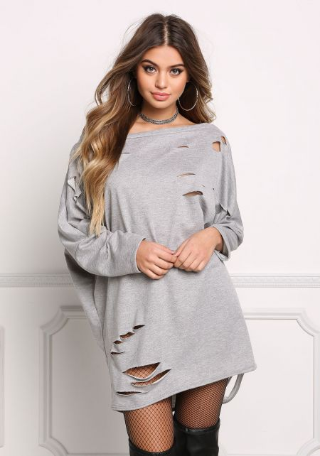 Heather Grey Distressed Tunic Sweater Top