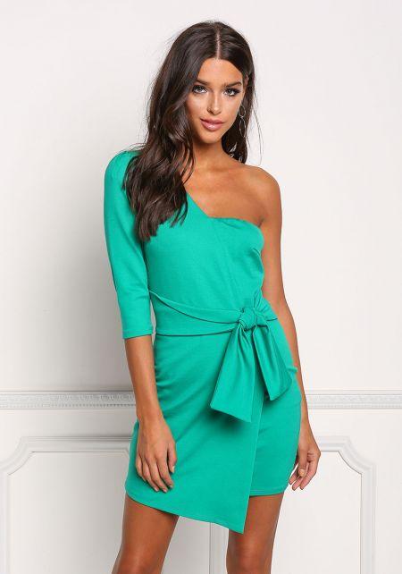 Green One Shoulder Faux Wrap Bodycon Dress
