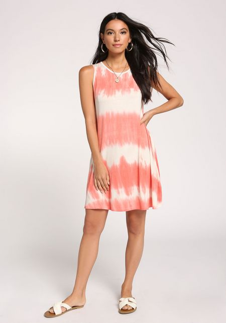 Coral Tie Dye Pocket Shift Dress