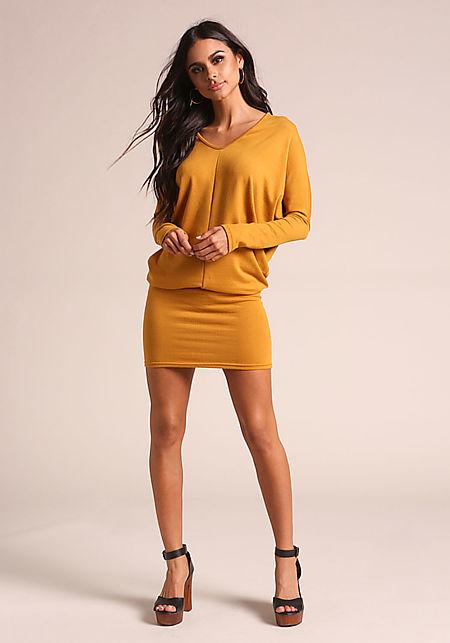 Mustard Ribbed Knit Dolman Dress