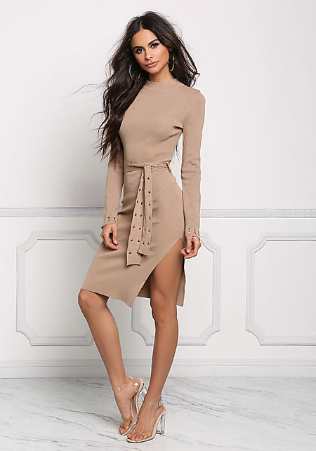 Coffee Ribbed Knit Belted Bodycon Dress