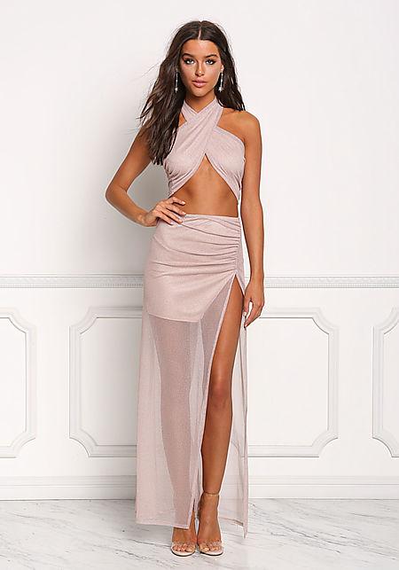 Blush Shimmer High Slit Maxi Skirt
