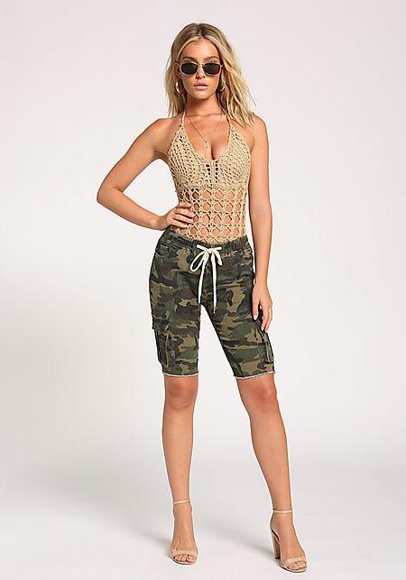 Camo Cargo Pocket Bermuda Shorts