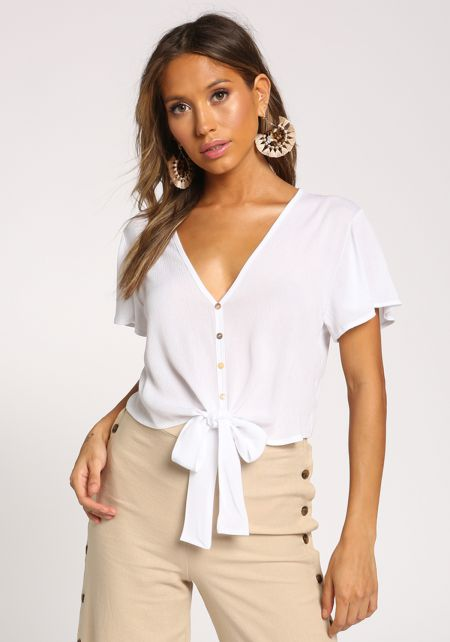 White Crepe Tie Front Crop Top