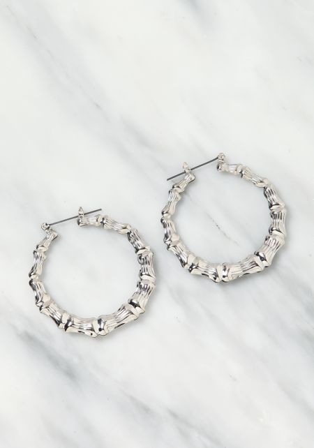 Silver Bamboo C Hoop Earrings