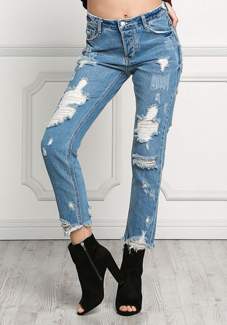 Denim Distressed Raw Boyfriend Jeans