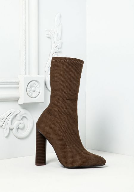 Khaki Pointed Sock Ankle Boots