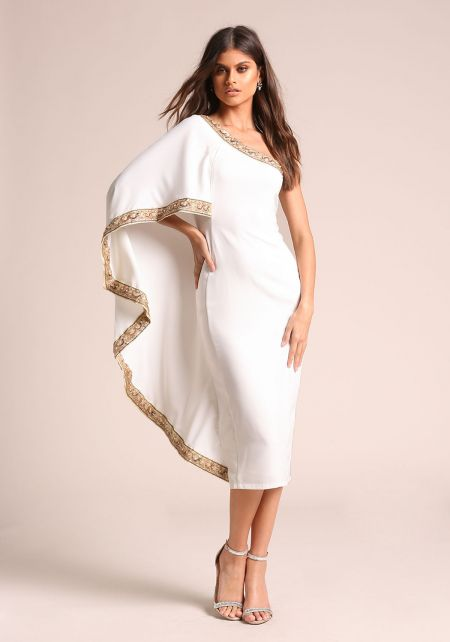 White One Shoulder Beaded Cape Midi Dress